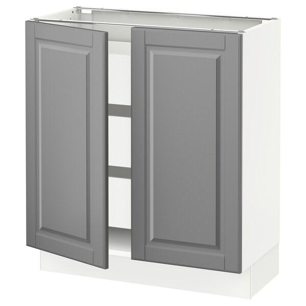 SEKTION / MAXIMERA Base cabinet w 2 doors/3 drawers, white/Bodbyn grey, 76x37x76 cm
