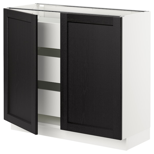 SEKTION / MAXIMERA Base cabinet w 2 doors/3 drawers, white/Lerhyttan black stained, 91x37x76 cm
