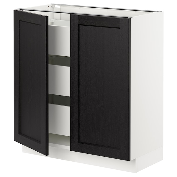 SEKTION / MAXIMERA Base cabinet w 2 doors/3 drawers, white/Lerhyttan black stained, 76x37x76 cm