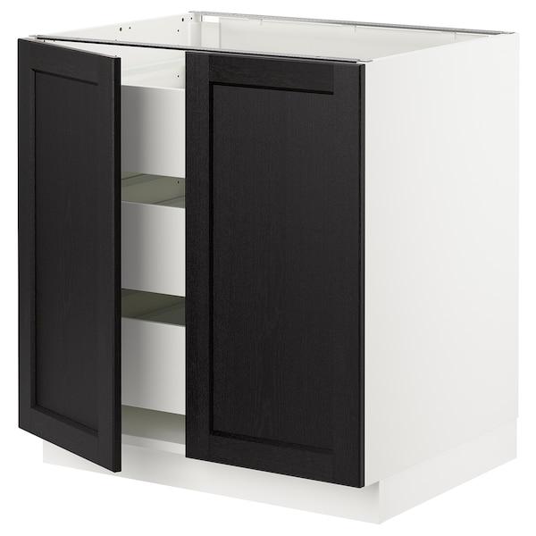 SEKTION / MAXIMERA Base cabinet w 2 doors/3 drawers, white/Lerhyttan black stained, 76x61x76 cm
