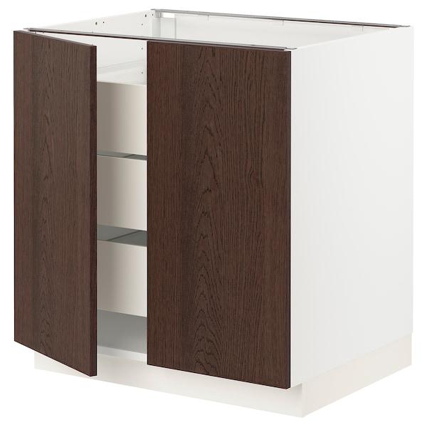 SEKTION / MAXIMERA Base cabinet w 2 doors/3 drawers, white/Sinarp brown, 76x61x76 cm