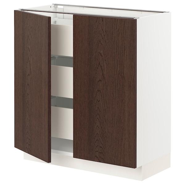 SEKTION / MAXIMERA Base cabinet w 2 doors/3 drawers, white/Sinarp brown, 76x37x76 cm