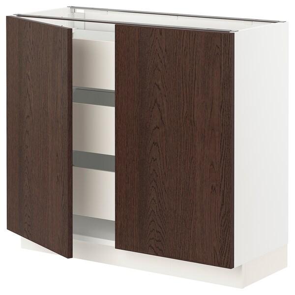 SEKTION / MAXIMERA Base cabinet w 2 doors/3 drawers, white/Sinarp brown, 91x37x76 cm