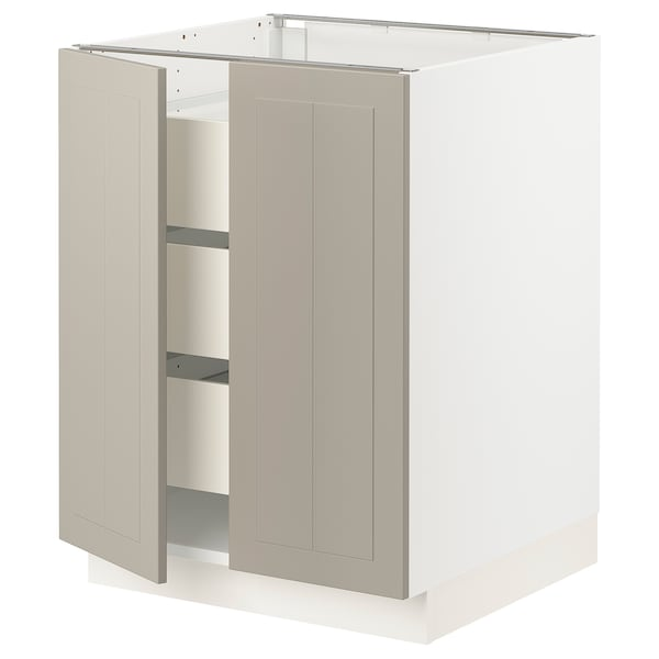 SEKTION / MAXIMERA Base cabinet w 2 doors/3 drawers, white/Stensund beige, 61x61x76 cm