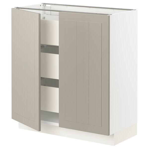 SEKTION / MAXIMERA Base cabinet w 2 doors/3 drawers, white/Stensund beige, 76x37x76 cm