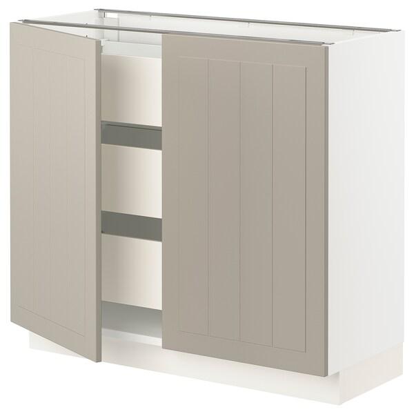 SEKTION / MAXIMERA Base cabinet w 2 doors/3 drawers, white/Stensund beige, 91x37x76 cm