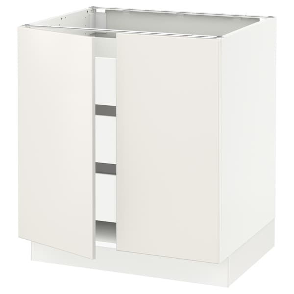 SEKTION / MAXIMERA Base cabinet w 2 doors/3 drawers, white/Veddinge white, 76x61x76 cm