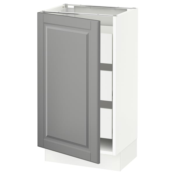 SEKTION / MAXIMERA Base cabinet with 1 door/3 drawers, white/Bodbyn grey, 46x37x76 cm
