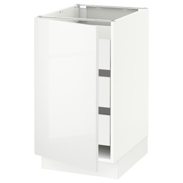 SEKTION / MAXIMERA Base cabinet with 1 door/3 drawers, white/Ringhult white, 46x61x76 cm