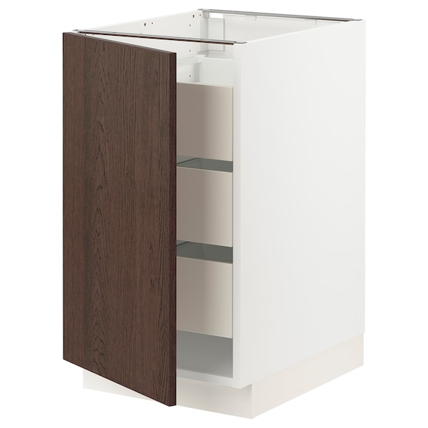 SEKTION / MAXIMERA Base cabinet with 1 door/3 drawers, white/Sinarp brown, 46x61x76 cm