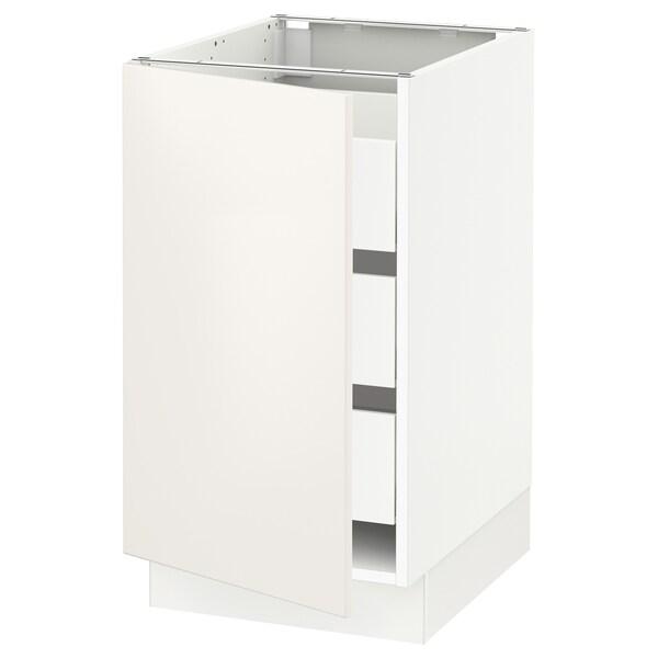 SEKTION / MAXIMERA Base cabinet with 1 door/3 drawers, white/Veddinge white, 46x61x76 cm