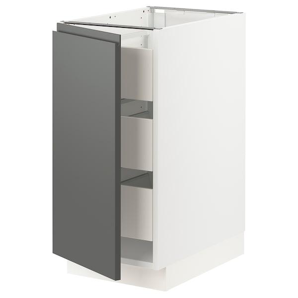 SEKTION / MAXIMERA Base cabinet with 1 door/3 drawers, white/Voxtorp dark grey, 38x61x76 cm