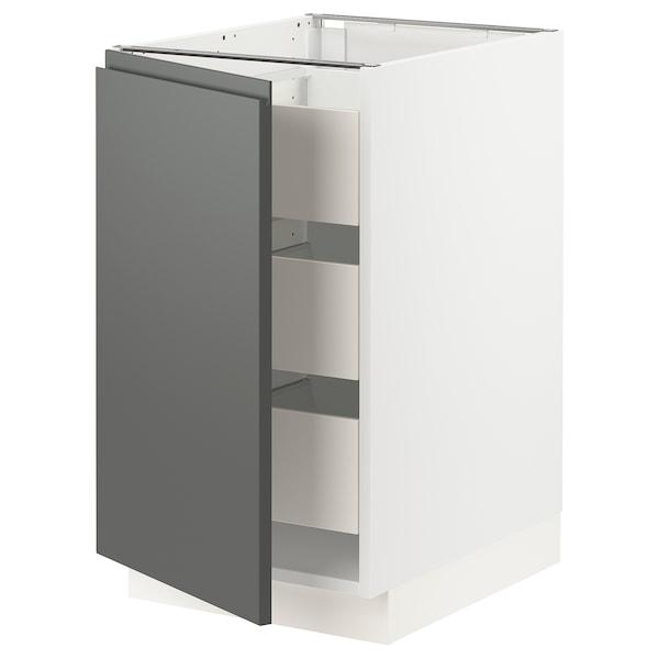 SEKTION / MAXIMERA Base cabinet with 1 door/3 drawers, white/Voxtorp dark grey, 46x61x76 cm