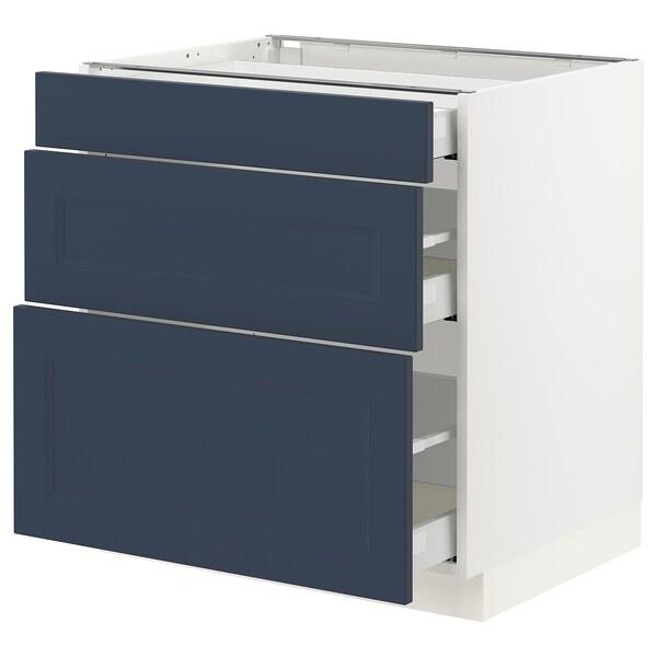 SEKTION / MAXIMERA Base cabinet with 3 drawers, white Axstad/matt blue, 76x61x76 cm