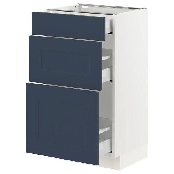 SEKTION / MAXIMERA Base cabinet with 3 drawers, white Axstad/matt blue, 46x37x76 cm