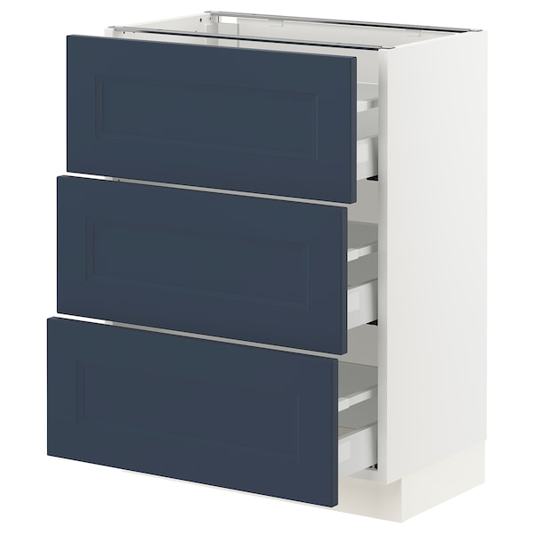 SEKTION / MAXIMERA Base cabinet with 3 drawers, white Axstad/matt blue, 61x37x76 cm