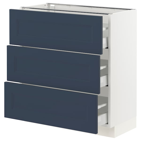 SEKTION / MAXIMERA Base cabinet with 3 drawers, white Axstad/matt blue, 76x37x76 cm