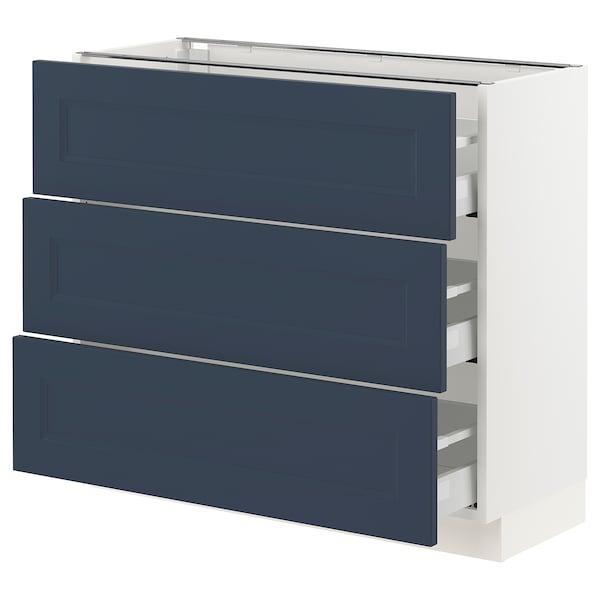 SEKTION / MAXIMERA Base cabinet with 3 drawers, white Axstad/matt blue, 91x37x76 cm