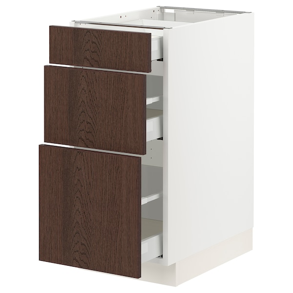 SEKTION / MAXIMERA Base cabinet with 3 drawers, white/Sinarp brown, 38x61x76 cm
