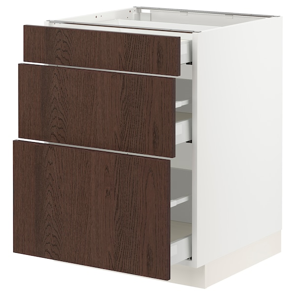 SEKTION / MAXIMERA Base cabinet with 3 drawers, white/Sinarp brown, 61x61x76 cm