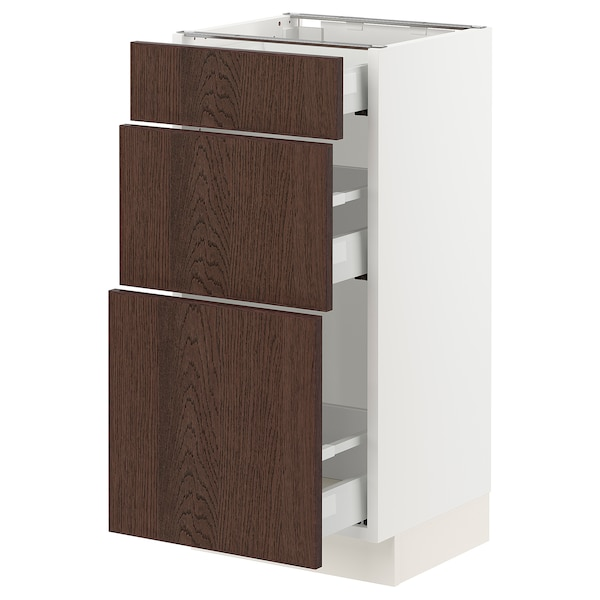 SEKTION / MAXIMERA Base cabinet with 3 drawers, white/Sinarp brown, 38x37x76 cm