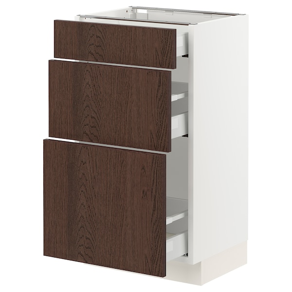 SEKTION / MAXIMERA Base cabinet with 3 drawers, white/Sinarp brown, 46x37x76 cm