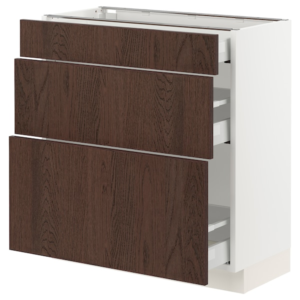 SEKTION / MAXIMERA Base cabinet with 3 drawers, white/Sinarp brown, 76x37x76 cm