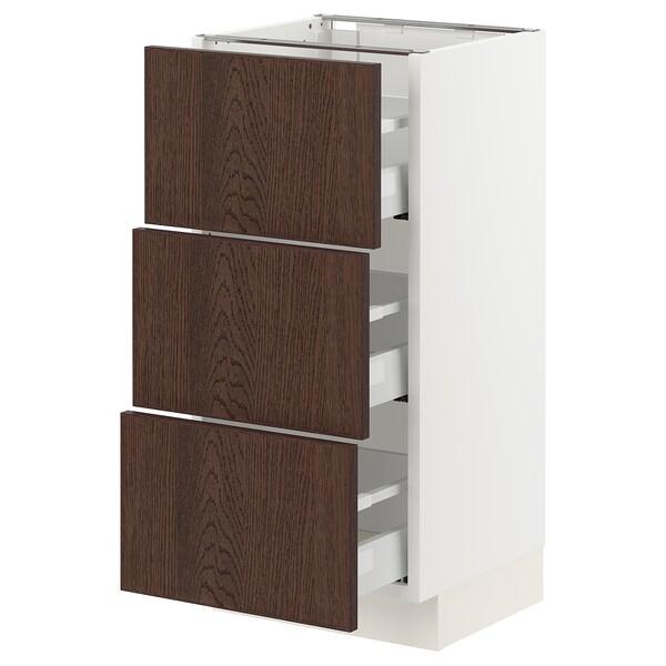 SEKTION / MAXIMERA Base cabinet with 3 drawers, white/Sinarp brown, 38x37x76 cm