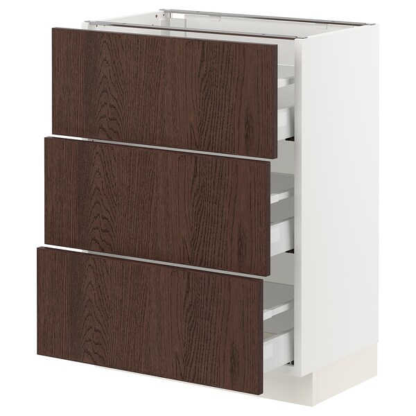 SEKTION / MAXIMERA Base cabinet with 3 drawers, white/Sinarp brown, 61x37x76 cm