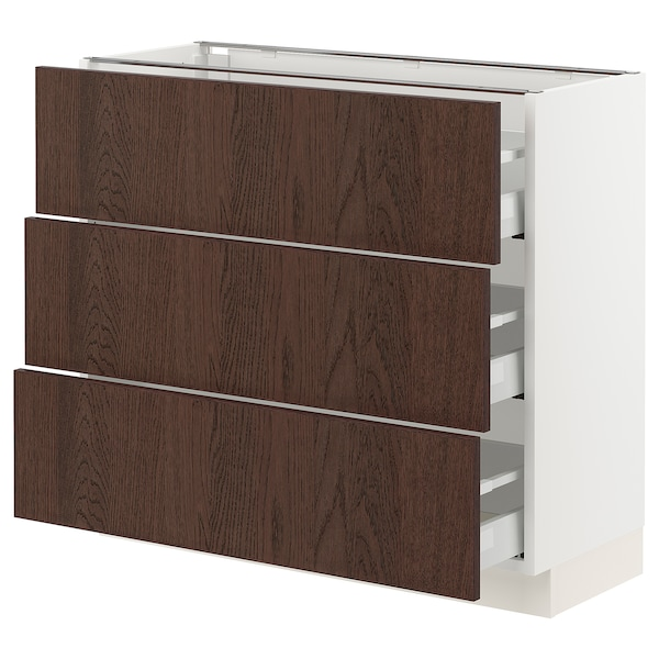 SEKTION / MAXIMERA Base cabinet with 3 drawers, white/Sinarp brown, 91x37x76 cm
