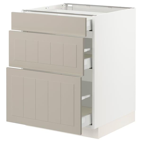 SEKTION / MAXIMERA Base cabinet with 3 drawers, white/Stensund beige, 61x61x76 cm