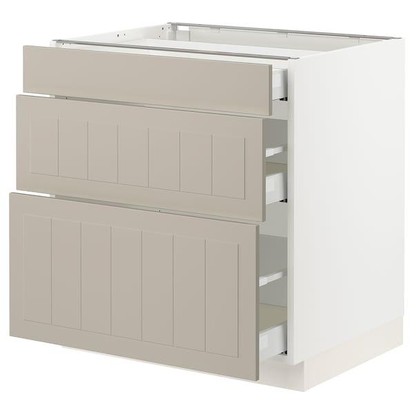 SEKTION / MAXIMERA Base cabinet with 3 drawers, white/Stensund beige, 76x61x76 cm