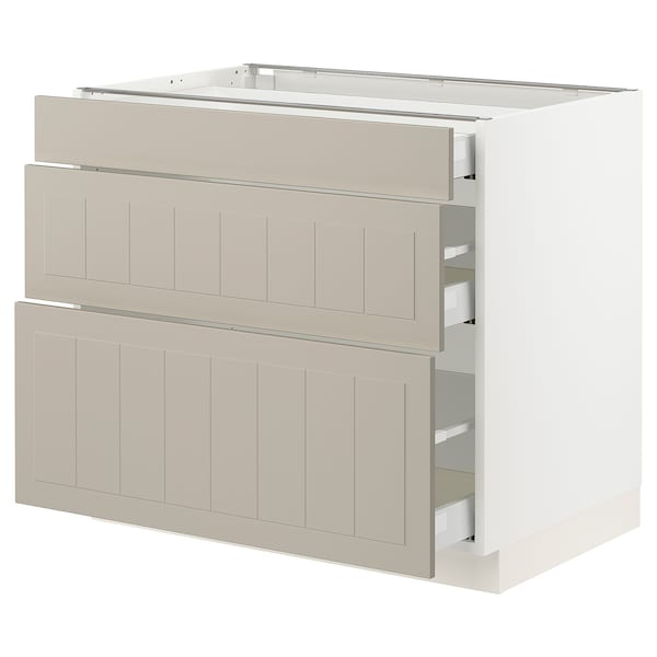 SEKTION / MAXIMERA Base cabinet with 3 drawers, white/Stensund beige, 91x61x76 cm