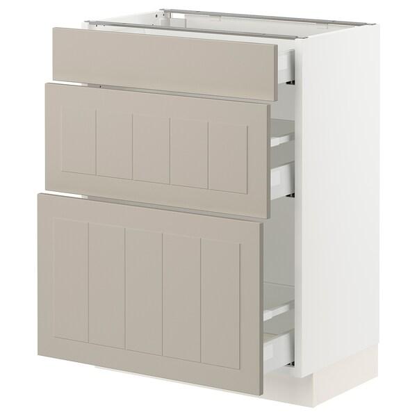 SEKTION / MAXIMERA Base cabinet with 3 drawers, white/Stensund beige, 61x37x76 cm