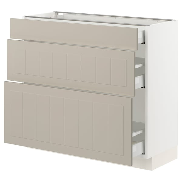 SEKTION / MAXIMERA Base cabinet with 3 drawers, white/Stensund beige, 91x37x76 cm