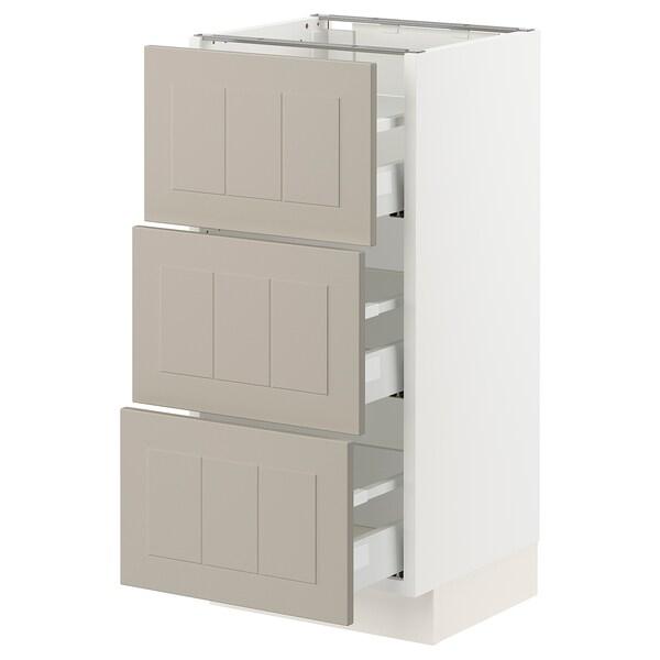 SEKTION / MAXIMERA Base cabinet with 3 drawers, white/Stensund beige, 38x37x76 cm