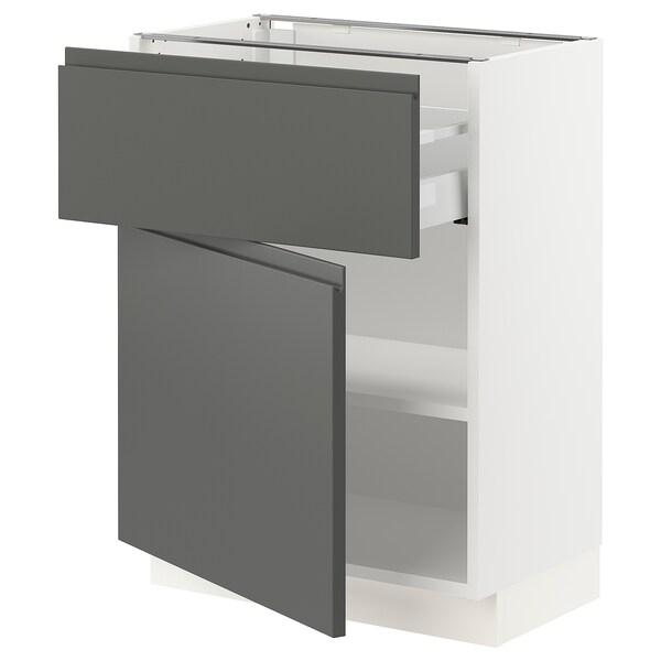 SEKTION / MAXIMERA Base cabinet with drawer/door, white/Voxtorp dark grey, 61x37x76 cm