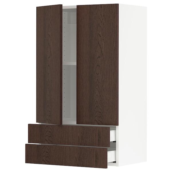SEKTION / MAXIMERA Wall cabinet w 2 doors/2 drawers, white/Sinarp brown, 61x37x102 cm