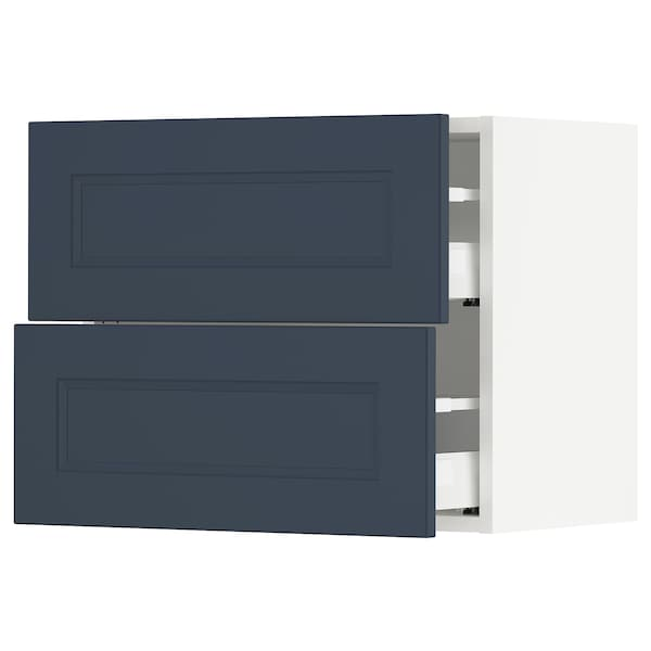 SEKTION / MAXIMERA Wall cabinet with 2 drawers, white Axstad/matt blue, 61x37x51 cm