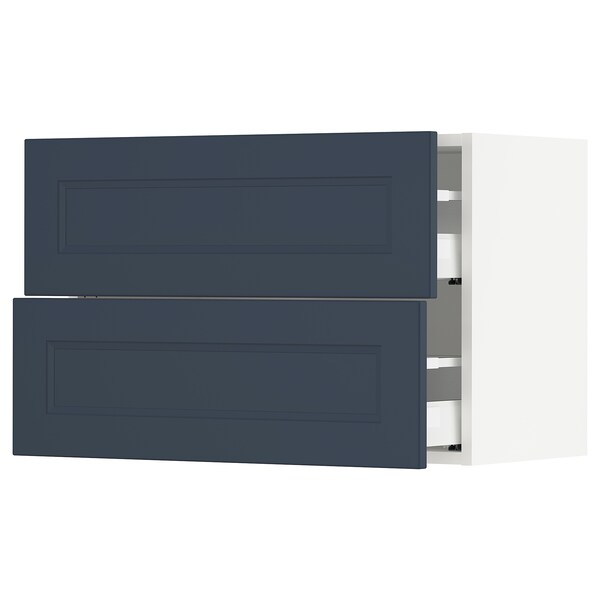 SEKTION / MAXIMERA Wall cabinet with 2 drawers, white Axstad/matt blue, 76x37x51 cm
