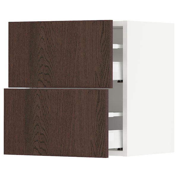 SEKTION / MAXIMERA Wall cabinet with 2 drawers, white/Sinarp brown, 46x37x51 cm