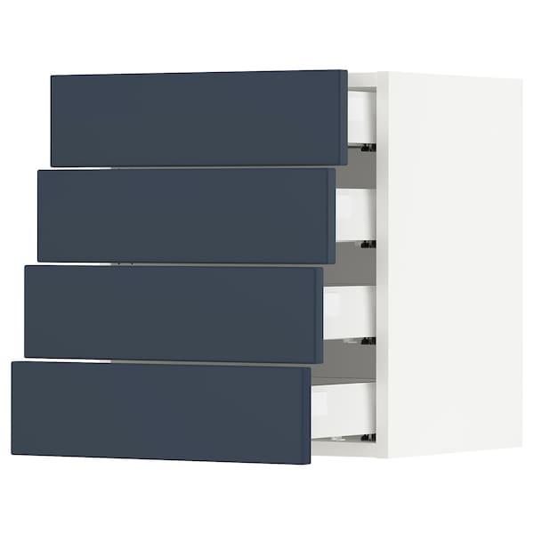 SEKTION / MAXIMERA Wall cabinet with 4 drawers, white Axstad/matt blue, 46x37x51 cm