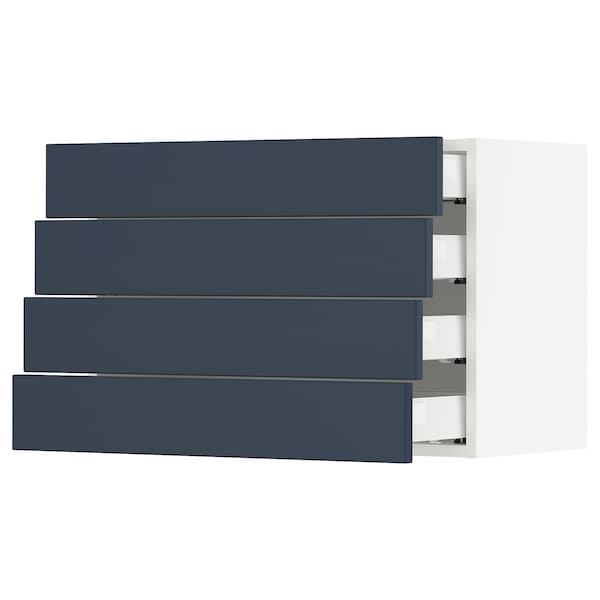SEKTION / MAXIMERA Wall cabinet with 4 drawers, white Axstad/matt blue, 76x37x51 cm