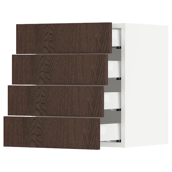 SEKTION / MAXIMERA Wall cabinet with 4 drawers, white/Sinarp brown, 46x37x51 cm
