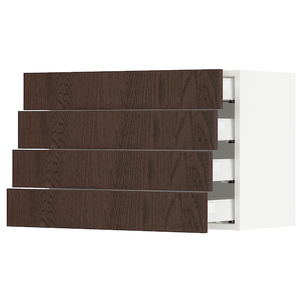 SEKTION / MAXIMERA Wall cabinet with 4 drawers, white/Sinarp brown, 76x37x51 cm