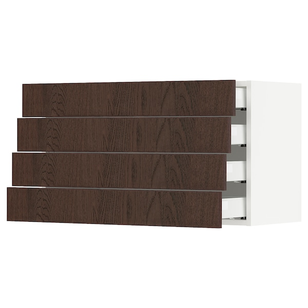 SEKTION / MAXIMERA Wall cabinet with 4 drawers, white/Sinarp brown, 91x37x51 cm