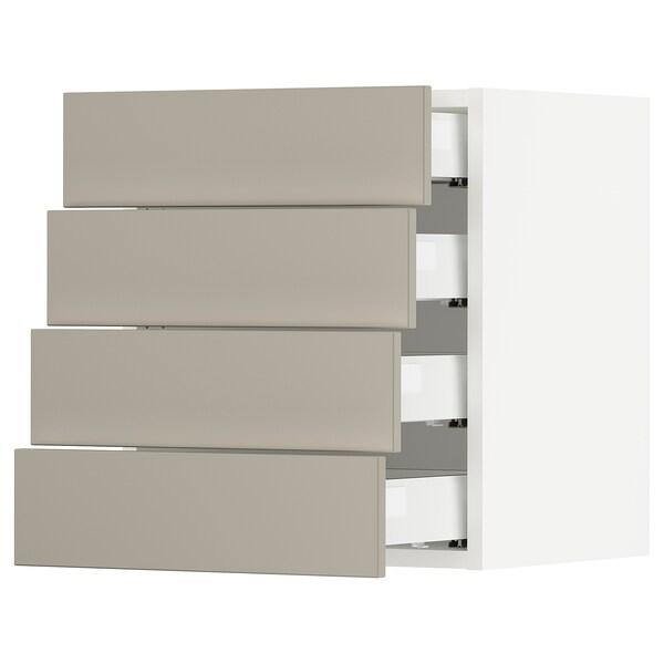 SEKTION / MAXIMERA Wall cabinet with 4 drawers, white/Stensund beige, 46x37x51 cm