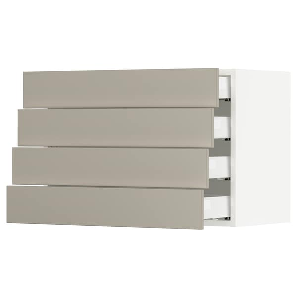 SEKTION / MAXIMERA Wall cabinet with 4 drawers, white/Stensund beige, 76x37x51 cm