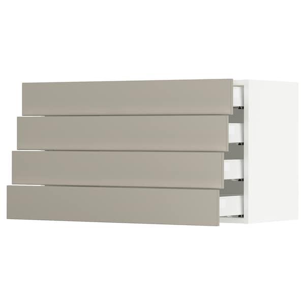 SEKTION / MAXIMERA Wall cabinet with 4 drawers, white/Stensund beige, 91x37x51 cm