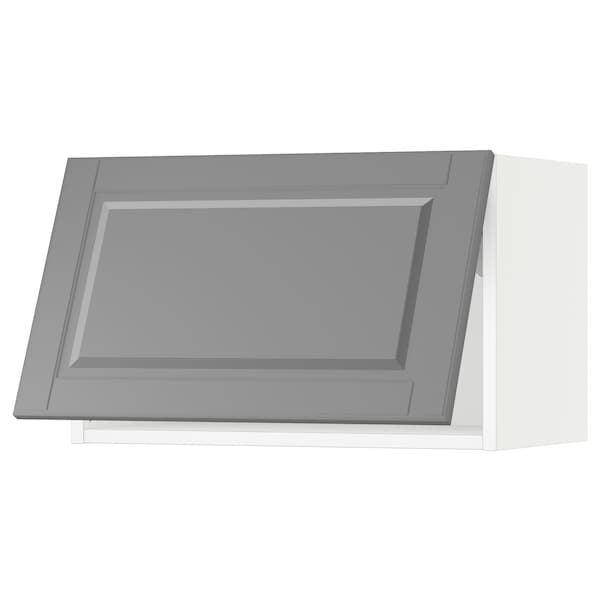 SEKTION Wall cabinet horizontal w push-open, white/Bodbyn grey, 61x37x38 cm